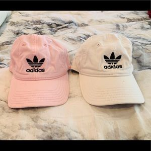 Two Adidas Original Hats Pink and White